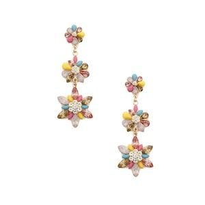 BRAND NEW Tiered Flower Faux Gem Drop Earrings